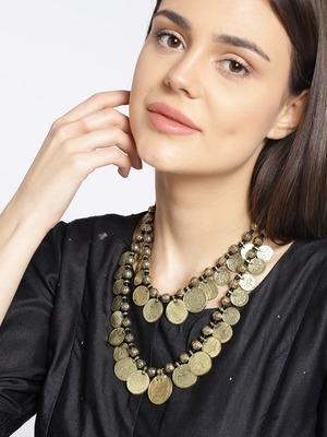 Infuzze Antique Gold-Toned & Black Layered Coin Necklace