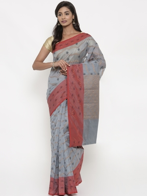 CLASSICATE from the house of The Chennai Silks Women's Grey Chanderi Saree With Blouse Piece