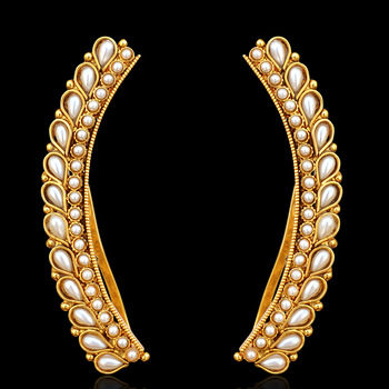 Ethnic Indian Bollywood Jewelry Gold Finish Ear Cuff Wrap Clip on Earrings