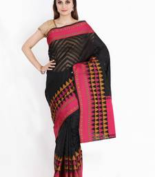 CLASSICATE from the house of The Chennai Silks Women's Black Manipuri Kota Saree With Blouse Piece