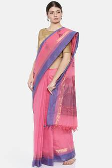 9044787553 CLASSICATE from the house of The Chennai Silks Women's Pink Cotton Silk  Saree With Blouse Piece