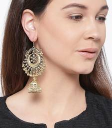 Infuzze Antique Gold-Toned Dome Shaped Drop Earrings