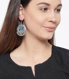 Infuzze Oxidised Silver-Toned Circular Mirror Drop Earrings