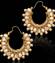 Buy Traditional Indian Bollywood Jewelry Gold Finish Hoops Earrings hoop online
