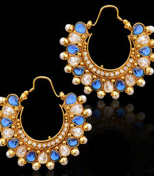 Traditional Indian Bollywood Jewelry Gold Finish Hoops Earrings