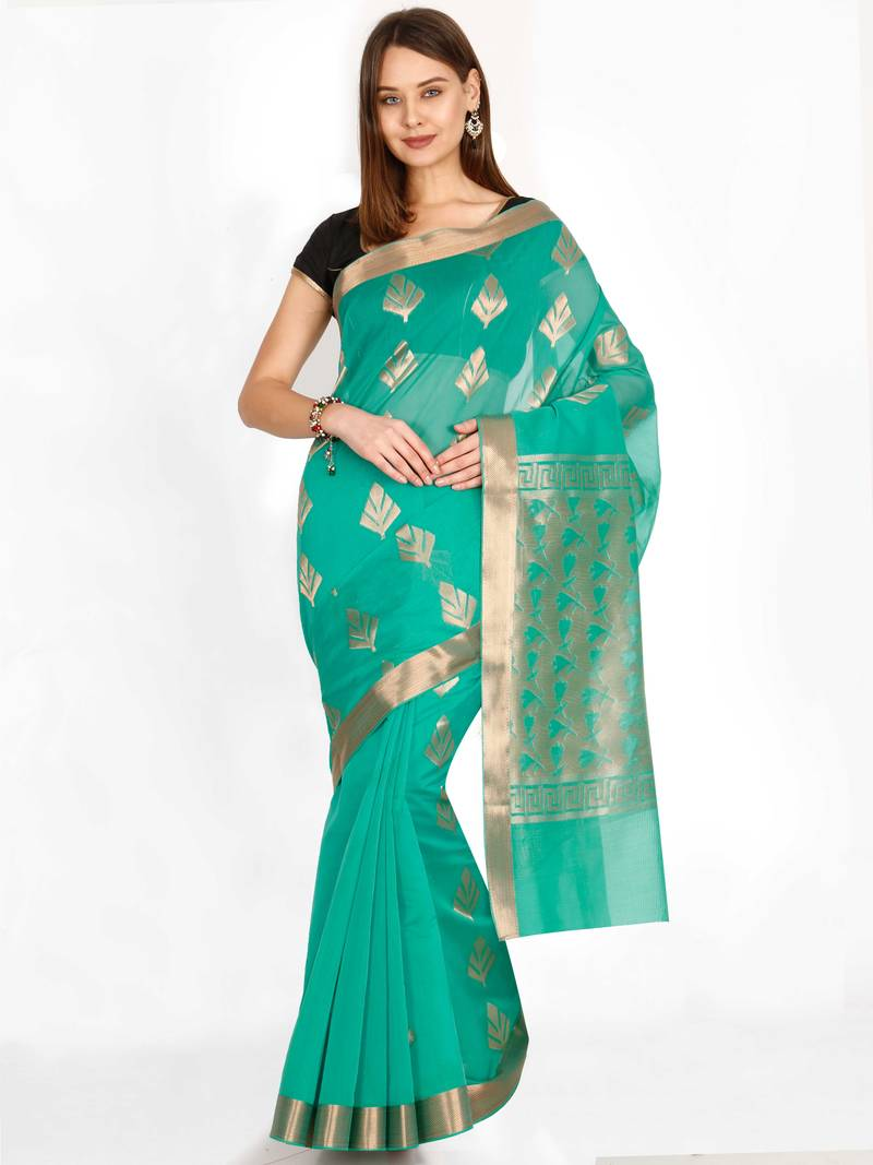 Classicate from the house of the chennai silks women's green cotton silk  saree with blouse piece