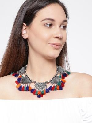 Infuzze Multicoloured Tasselled Necklace