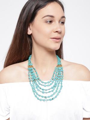Infuzze Turquoise Blue Beaded Layered Necklace