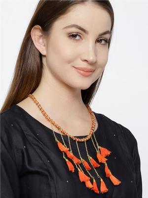 Infuzze Gold-Toned & Orange Tasseled Necklace