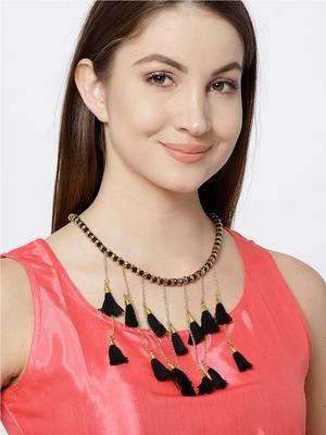Infuzze Gold-Toned & Black Tasseled Necklace