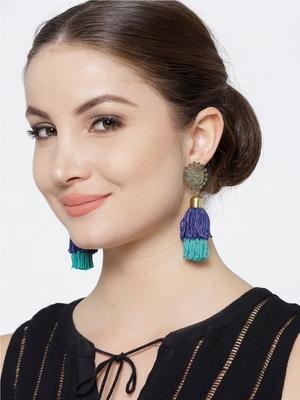 Infuzze Antique Gold-Toned & Blue Tasseled Circular Drop Earrings