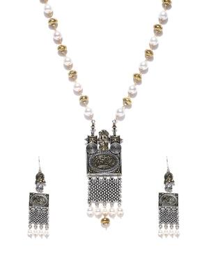 Infuzze Antique Gold-Toned & White Beaded Tribal Jewellery Set