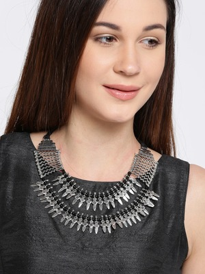 Infuzze Silver-Toned Metal Oxidised Necklace