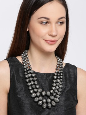 Infuzze Silver-Toned Metal Layered Necklace