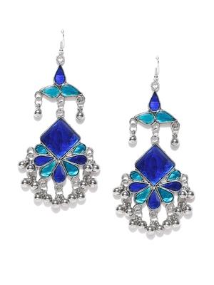 Infuzze Blue Teardrop Shaped Enamelled Drop Earrings