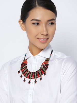 Infuzze Black & Red Beaded Handcrafted Necklace