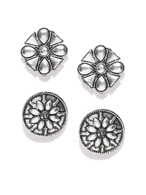 Infuzze Set of 2 Oxidised Silver-Toned Tribal Oversized Studs