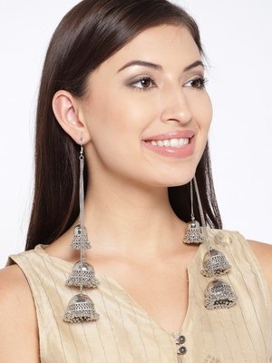 Infuzze Oxidised Silver-Toned Dome Shaped Jhumkas