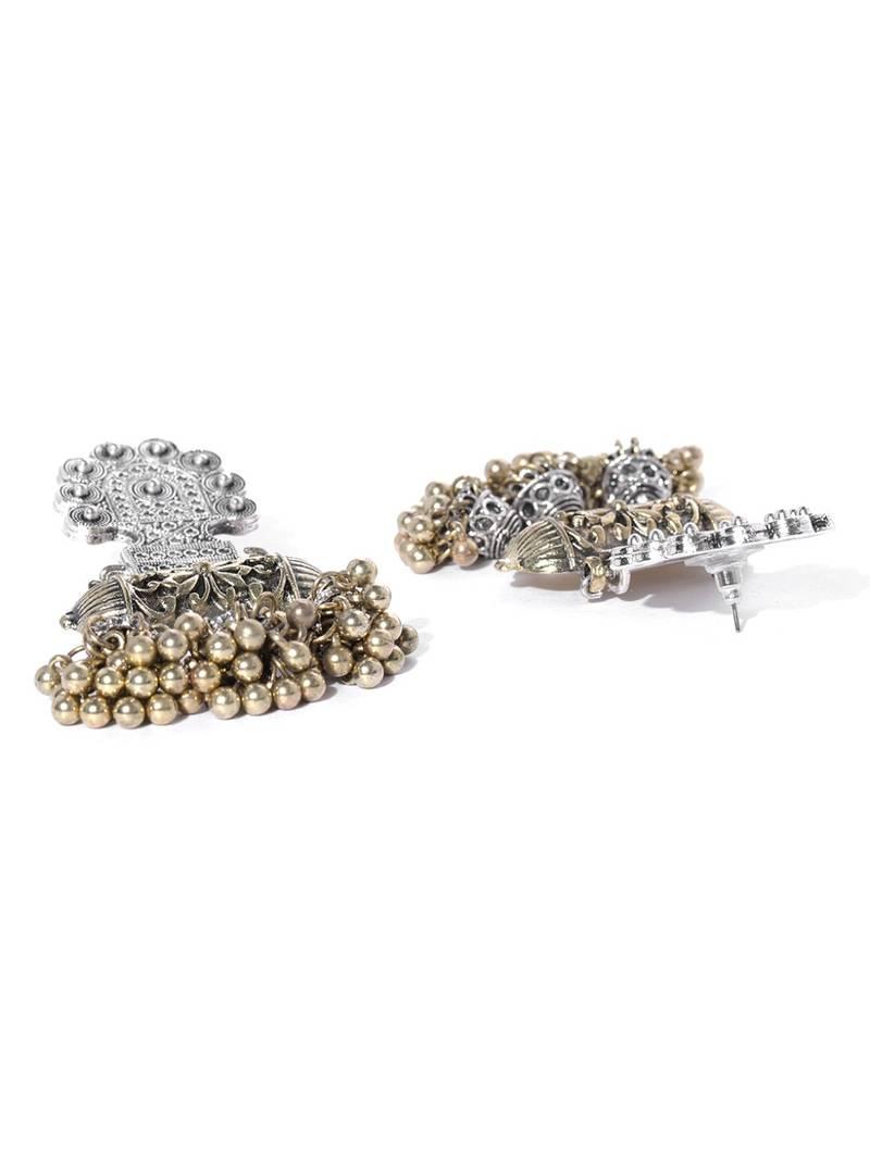9896e7e6f Infuzze Oxidised Silver & Antique Gold-Toned Classic Drop Earrings ...