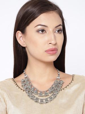 Infuzze Oxidised Silver-Toned Layered Necklace