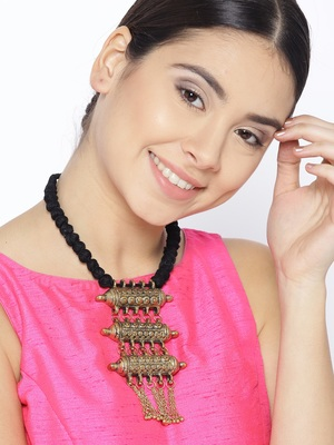 Infuzze Antique Gold-Toned & Black Textured Tribal Necklace