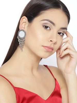 Infuzze Oxidised Silver-Toned Mirror-Work Circular Drop Earrings
