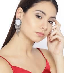 Infuzze Oxidised Silver-Toned Mirror-Work Circular Drop Earrings