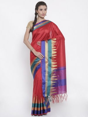 CLASSICATE from the house of The Chennai Silks Women's Red Dupion Saree With Blouse Piece