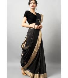 Stunning black chanderi silk with gold and silver zari work deer motif & golden zari work border
