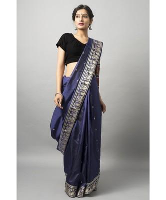 Deep blue baluchari with gold zari and meenakari work
