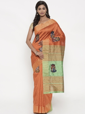 CLASSICATE from the house of The Chennai Silks Women's Rust Dupion Saree With Blouse Piece