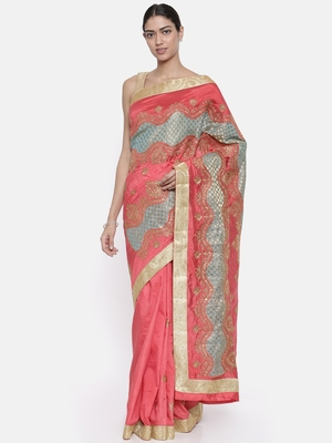 CLASSICATE from the house of The Chennai Silks Women's Coral Dupion Saree With Blouse Piece