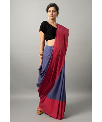 Khadi cotton saree with chic color combination of deep blue and red