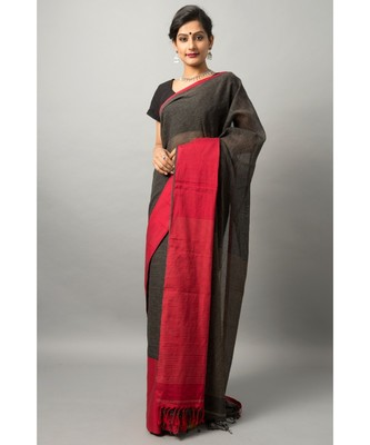 Khadi cotton saree with chic color combination of deep black and red