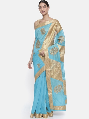 CLASSICATE from the house of The Chennai Silks Women's Sky Blue Dupion Saree With Blouse Piece