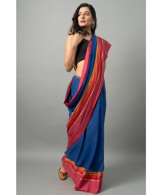 Khadi cotton saree with unique color combination of blue and orange with gold threadwork