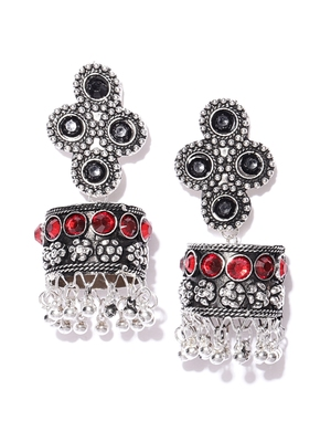 Infuzze Black & Red Oxidised Silver-Toned Stone-Studded Dome Shaped Drop Earrings