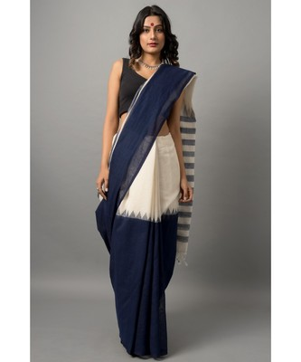 Khadi cotton saree gorgeous in stripes and tassels along the pallu
