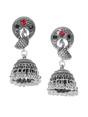 Infuzze Oxidised Silver-Toned & Red Peacock Shaped Jhumkas