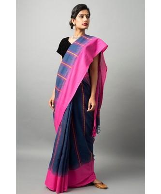 Khadi cotton saree with stunning swan & fish motifs