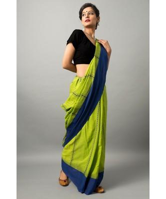 Khadi cotton saree with stunning temple motif