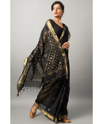 Khadi cotton saree with stunning floral motif and zari border