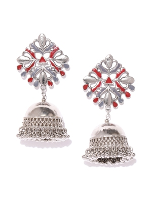Infuzze Silver-Toned & Red Enamelled Dome Shaped Jhumkas