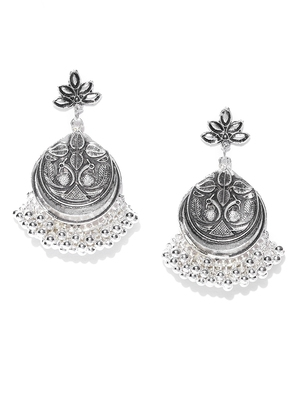 Infuzze Oxidised Silver-Toned Textured Classic Drop Earrings