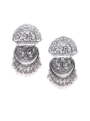2c1888803 Infuzze Oxidised Silver-Toned Classic Drop Earrings - Infuzze - 2861604