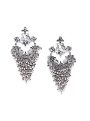 Infuzze Oxidised Silver-Toned Classic Drop Earrings