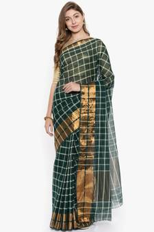 1f32fa2a98 CLASSICATE from the house of The Chennai Silks Women's Green Venkatagiri  Cotton Saree Without Blouse Piece