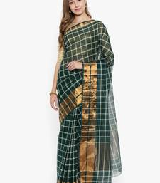 CLASSICATE from the house of The Chennai Silks Women's Green Venkatagiri Cotton Saree Without Blouse Piece