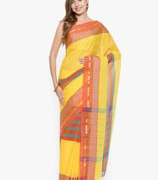 CLASSICATE from the house of The Chennai Silks Women's Yellow Chettinad Cotton Saree With Blouse Piece