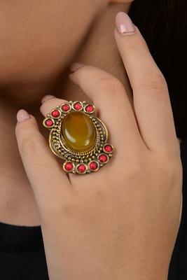 Yellow Stone Tibetean Ring